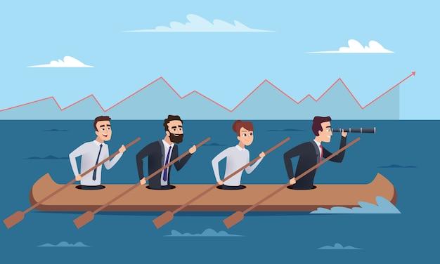 Team bestemming. bedrijfs succesvolle managersgroep die naar de concepten van de leiderdirecteur gaan