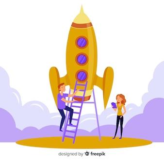 Team bouw raket achtergrond