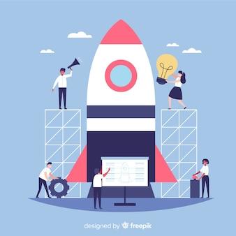 Team dat een raketachtergrond bouwt