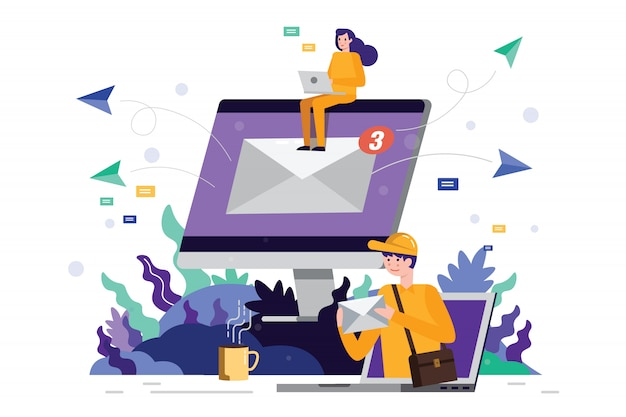 Team dat en e-mail op het computerscherm werkt verzendt