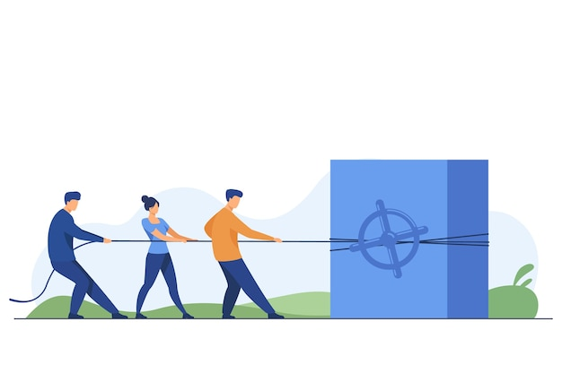 Team dat investeringen en kapitaal aantrekt. mensen trekken touw, stalen kluis, geld platte vectorillustratie. financiën, sparen, winstconcept