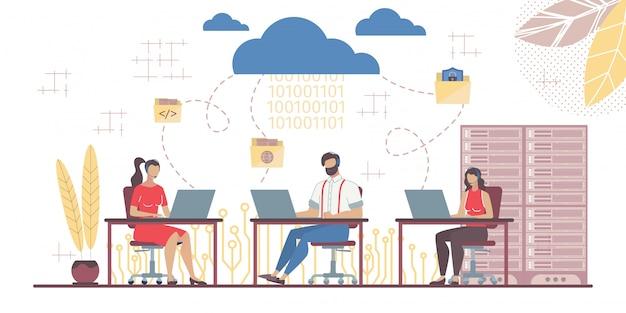 Team dat werkt in saas verbonden met main cloud