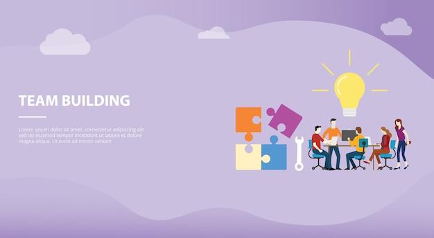 Team de bouwconcept met grote woordtekst en raadsel voor websitemalplaatje of het landen homepageontwerp