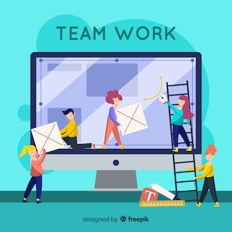 Team delen om grafisch ontwerp te maken