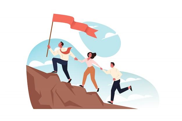Team, doel, motivatie, opstarten van bedrijven, leiderschap concept.