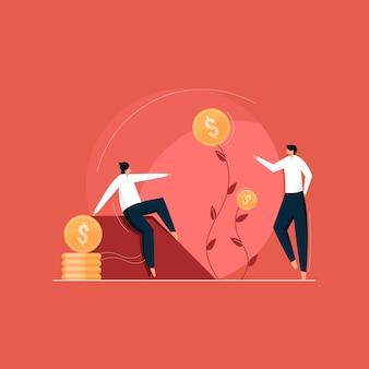 Team groeiende geldplant, teelt van geld contante winst voor presentatie, investering