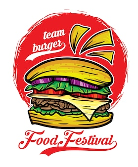 Team hamburger eten festival vectorillustratie