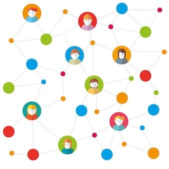 Team in sociale netwerken werken vectorillustratie