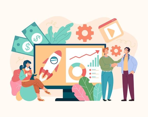 Team mensen karakters ontwikkeling bedrijfsproject opstarten strategie beheer concept