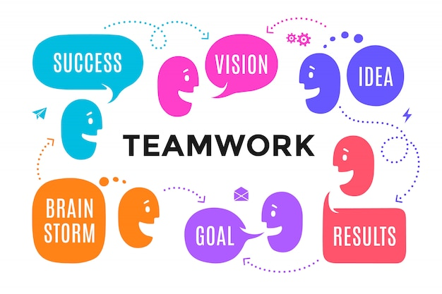 Team mensen met verschillende vormen tekstballon