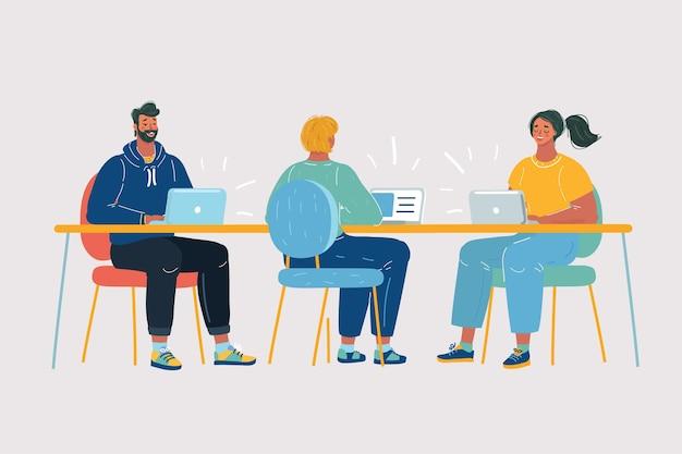 Team met vier mensen aan het werk