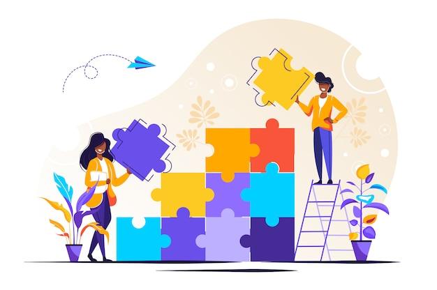Team metafoor. mensen verbinden puzzelelementen
