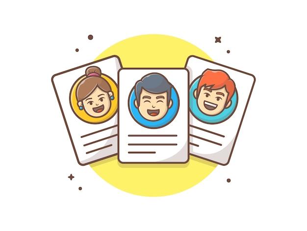 Team profielkaart met karakter pictogram illustratie