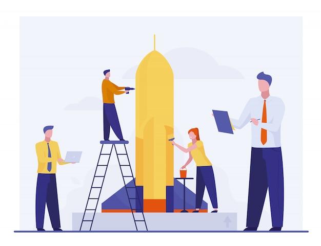 Team repareren en schilderen raket voor lancering
