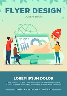 Team start project. werkgroep bezig met opstarten, raket lanceren vanaf monitor met groeimeter. vectorillustratie voor nieuwe business idee flyer-sjabloon