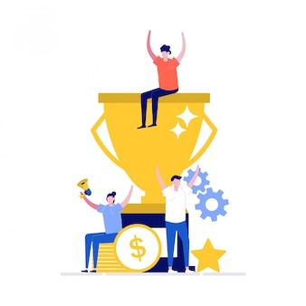 Team succes concept met personen personages en grote trofee.