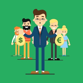Team succes illustratie met mensen uit het bedrijfsleven