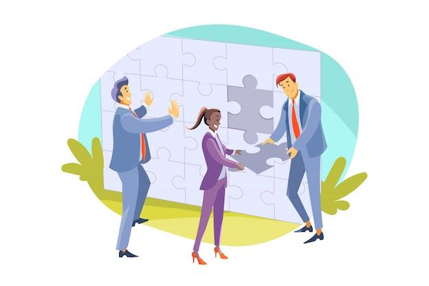 Team, teamwork, partnerschap, samenwerking, bedrijfsconcept