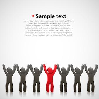 Team van abstracte mensenkunst. vectorillustratie