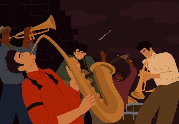 Team van artistieke straatmensen die op musicusinstrument spelen bij nachtstad. jazz band klassieke muziek artiesten vector grafische afbeelding. mannelijke gitarist, saxofonist, drummer en trompettist.