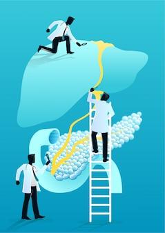 Team van artsen diagnosticeren menselijke lever en alvleesklier