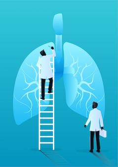 Team van artsen diagnosticeren menselijke longen. medisch en gezondheidszorgconcept