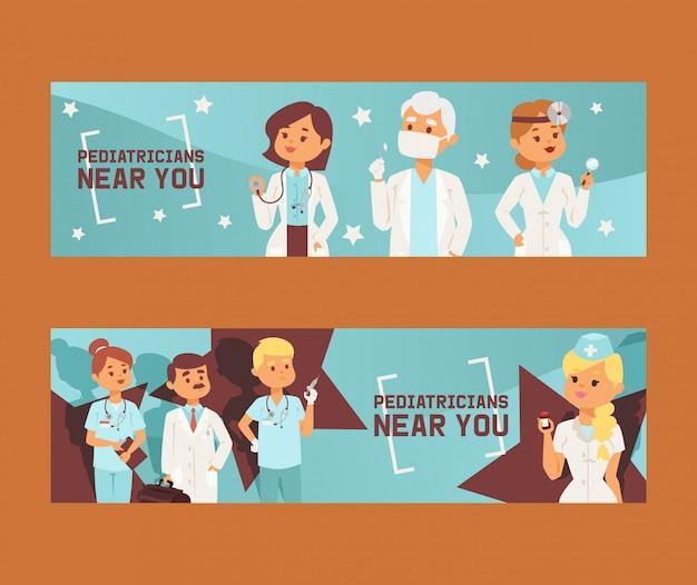 Team van artsen en andere ziekenhuisarbeidersreeks banners vectorillustratie. geneeskunde professionals en medisch personeel mensen in uniform arts