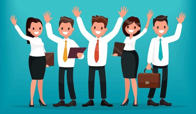 Team van bedrijfsmensen met hun handen omhoog