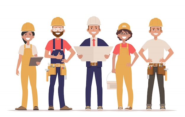 Team van bouwers