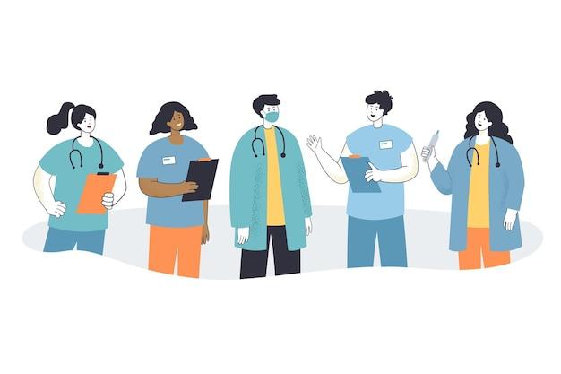 Team van cartoon ziekenhuis- of kliniekpersoneel in maskers