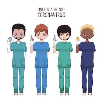 Team van diverse mannelijke verpleegkundigen