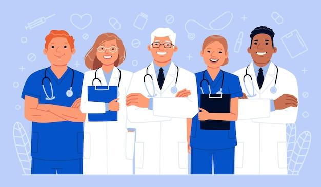 Team van gelukkige artsen en verpleegsters. werkers in de gezondheidszorg. vectorillustratie in vlakke stijl