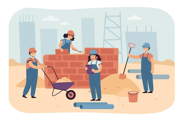 Team van gelukkige kinderen aan het werk als constructeurs