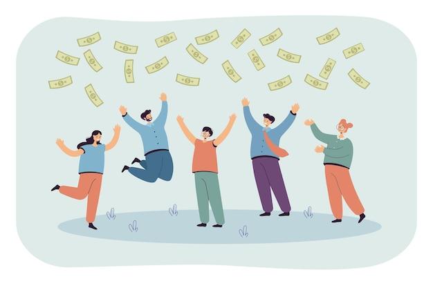 Team van gelukkige mensen springen van vreugde om geld te winnen