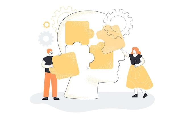 Team van mensen die puzzelstukjes van een enorm hoofd in elkaar zetten