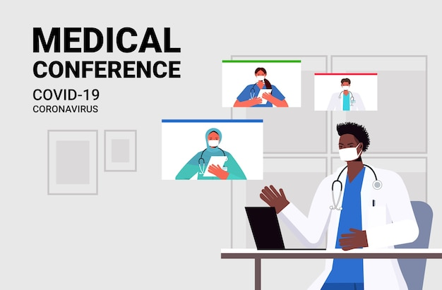 Team van mix race artsen bespreken tijdens videogesprek virtuele medische conferentie covid-19 pandemie zelfisolatie geneeskunde gezondheidszorg concept horizontaal portret vector illustratie
