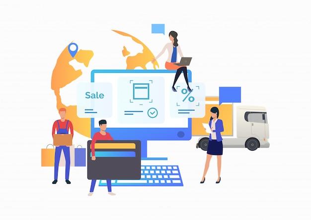Team van online winkel werken met klant