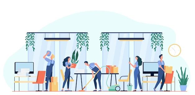 Team van professionele conciërges die kantoor schoonmaken. vectorillustratie voor schoonmakers baan, schoonmaak service, hygiëne op het werk concept