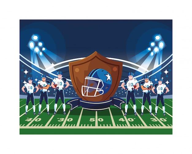 Team van spelers amerikaans voetbal in stadion