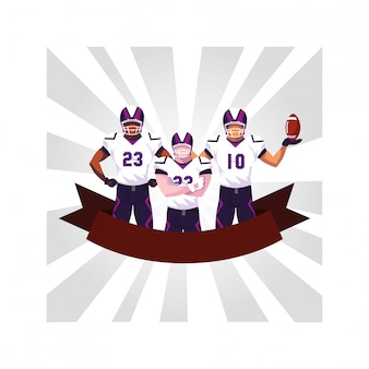 Team van spelers amerikaans voetbal, sporters met uniform