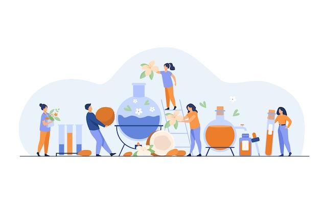 Team van technologen die huidverzorgingsproducten maken, kruiden, bloesems en etherische oliën mengen in een distilleerder. vectorillustratie voor cosmetische productieproces concept