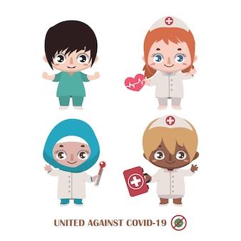 Team van verpleegsters die vechten tegen covid-19
