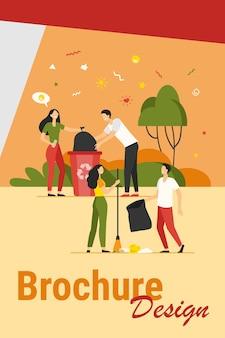Team van vrijwilligers die het park schoonmaken van vuilnis. gelukkige jonge mensen die afval buitenshuis verzamelen. vectorillustratie voor vrijwilligerswerkgemeenschap, natuurzorg, ecologieconcept