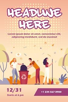 Team van vrijwilligers die park schoonmaken van de sjabloon van de folder van het huisvuil