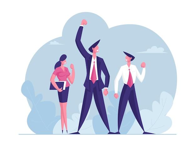 Team van zakelijke collega's viert overwinning op kantoor succesvolle projectdeal doelstelling