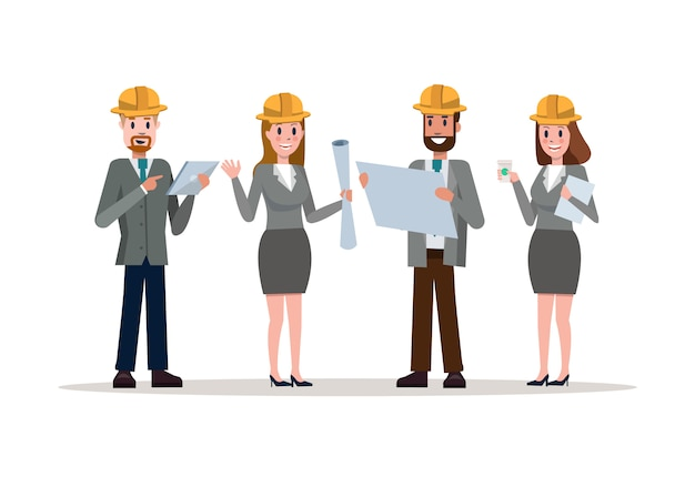Team van zelfverzekerde ingenieurs dragen van hardhats