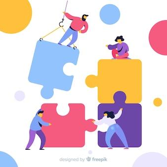 Team verbindende puzzelachtergrond
