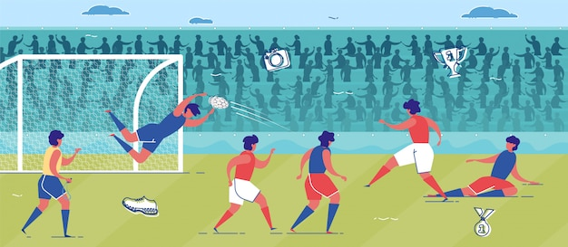 Team voetballen of voetbal op grasveld.