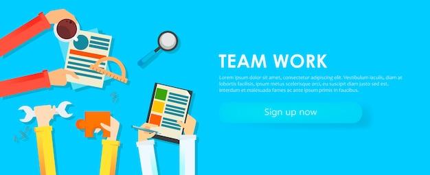 Team werk banner. handen met voorwerpen, document, koffie, puzzel.