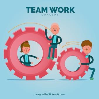 Team werk concept met platte ontwerp
